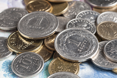 economize: Two one zloty coins on onther polish coins and bills