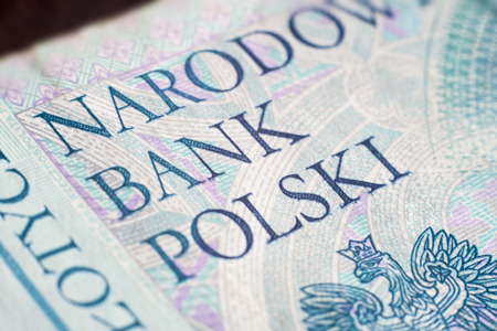 zloty: close-up of national bank of poland on fifty zloty banknote Stock Photo