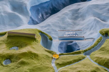 Gdansk Bay and Gdansk Deep on maquette of Baltic Sea floor, seen also part of Pomerania and Hel peninsula Stock Photo