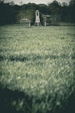 Old wayside shrine in polish countryside stand amid fields of rye