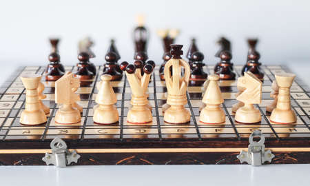 Black and white chess pieces arranged on chess board before start of gameplay as two armies in front of each other Zdjęcie Seryjne