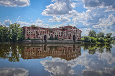 Ruins of XIX century granary on the Narew river burned during bombing at the beginning of second world war