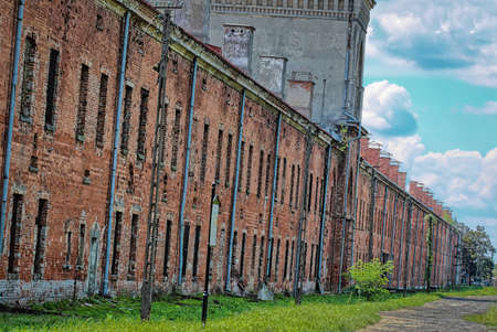 Red brick barracks building within the Modlin Fortress is one of the longest buildings in Europe