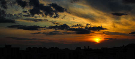 Sunset over housing blocks of Warsaw residential area