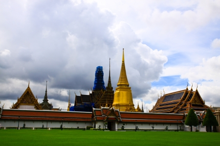 Golden pagoda in the Grand palace area in Bangkok, Thailand Stock Photo - 19245096