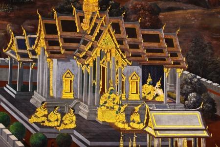Beautiful Scene Painted on a Temple Wall at Grand Palace, Bangkok, Thailand   Editorial