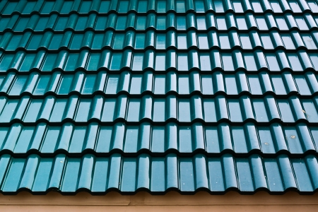 Dark green color roof tile Stock Photo