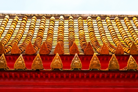 Top of the roof thailand style, orange color   Stock Photo