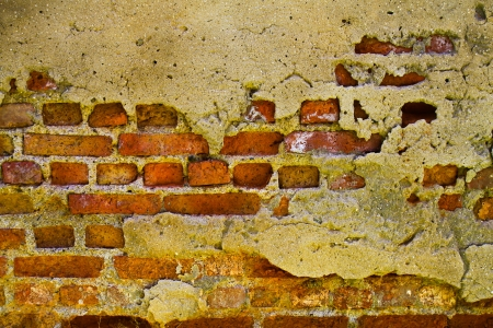 Textured wall with brick and stucco