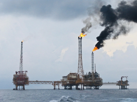 Rigs offshore Oil refinery  Stock Photo