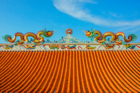 Chinese dragons on a temple in Thailand   Stock Photo