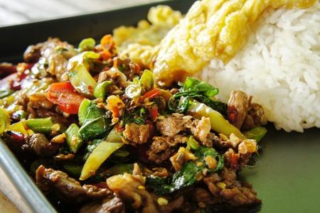 Basil fried pork menu