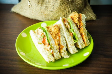 Dried shredded pork and tuna sandwich