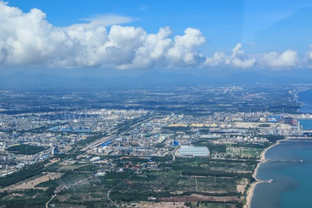 City scape and sea bird eye view Stock Photo