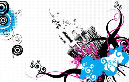 citylife: Grunge city-life background.