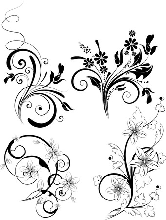 Abstract floral set. Suits well for design Illustration