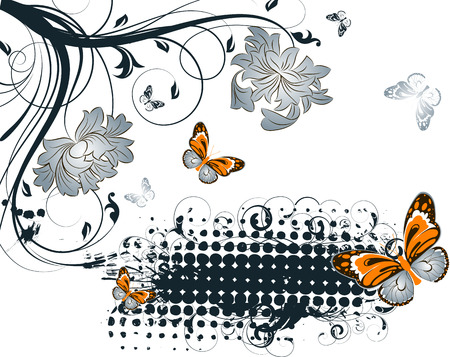 Floral abstraction with butterflies for design