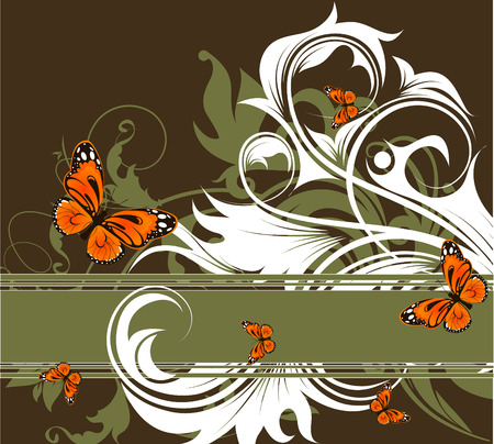abstract floral banner with butterflies. Suits well for design