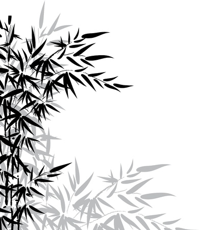 bamboo frame: Bamboo leaves in black and white colors for design