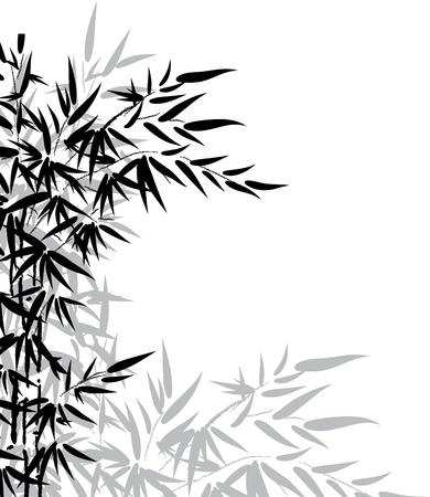 japones bambu: Las hojas de bamb� en los colores blanco y negro para el dise�o