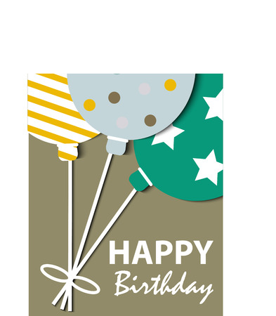 Abstract Happy Birthday card with balloons Illustration