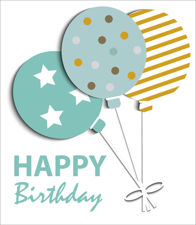 Abstract Happy Birthday card with balloons Çizim