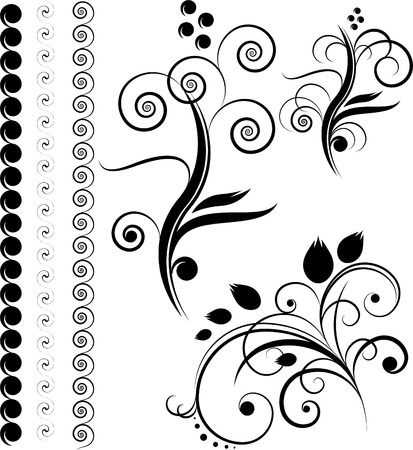 fashion design: Borders, floral design elements, isolated on the white Illustration