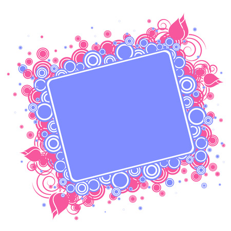 Decorative frame, blue and pink, isolated on the white Stock Vector - 4297975