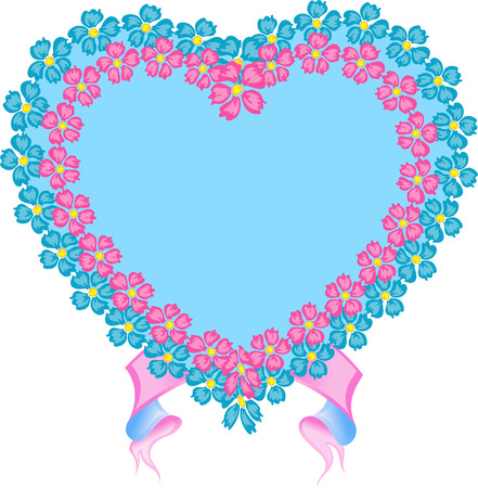 Heart, banner, pink and blue, isolated on the white Vector
