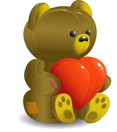 Bear with red heart, isolated on the white, vector Vector