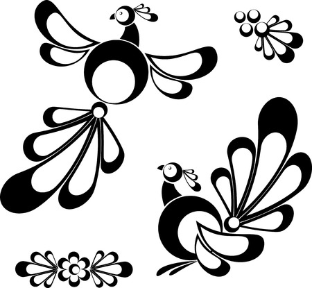 Birds, design elements, tatoo, isolated on white, eps8 format Vector