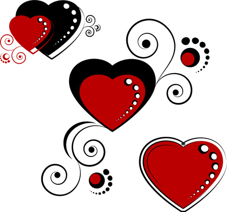 gothic heart: Hearts, design elements, isolated on white, eps8 format Illustration