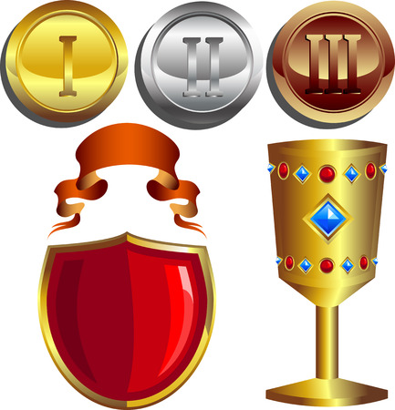 Rewards, gold, silver and bronze medals, cup, shield and banner. Isolated. 8 format Vector
