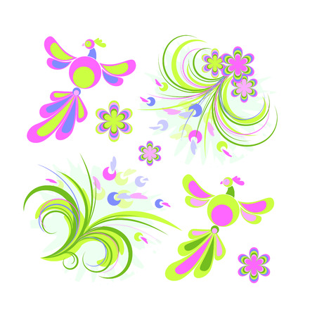 Spring design elements, birds and floral, isolated on white, 8 format Stock Vector - 4315470