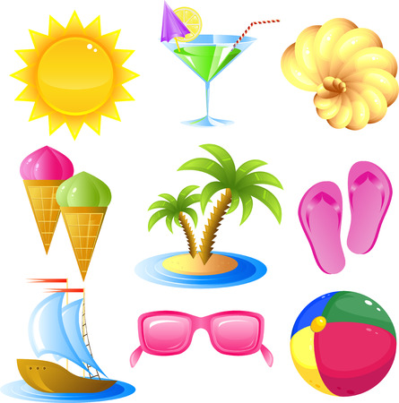 sun icon: Vacation and travel icon set, isolated on white, 8 format Illustration