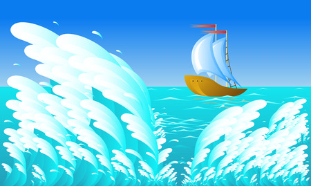 Sailing ship, wave, 8 format Vector