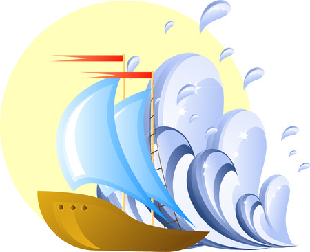ocean storm: Ship and wave, design element, 8 format Illustration