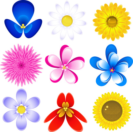 Icon set with 9 different flowers, isolated on white, vector, 8 format