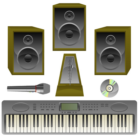 musik: Musik set, loud speaker, metronome, Microphone, cd, isolated on white, vector, 8 format