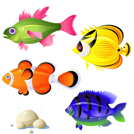 aletas: Conjunto de peces tropicales, piedras, burbujas, vector, aislado en blanco, formato eps 8