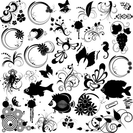 Set of elements for design, floral. fish, butterfly, abstract and  other, black, tattoo, vector, isolated on white Vector