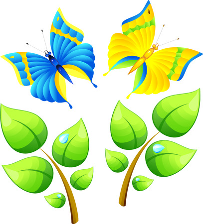 Branch and butterfly, isolated on white, vector, 8 format Vector