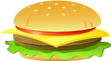 cheeseburger: Cheeseburger, isolated on white, vector, 8 format