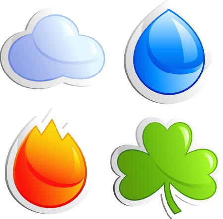 saubere luft: Vier Elemente Luft, Wasser, Feuer, Klee, isoliert auf wei�, Vektor-EPS-8-Format
