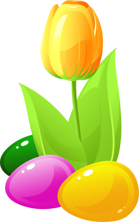 Yellow tulip and colored eggs. Vector Stock Vector - 4493338