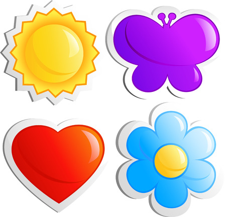 Four icons, sun, butterfly, heart, flower. Isolated on white, vector Vector