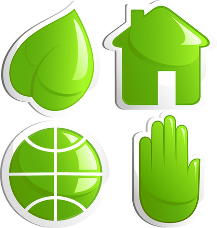 Ecology icon set, leaf, house, globe, hand. Green. Vector Vector