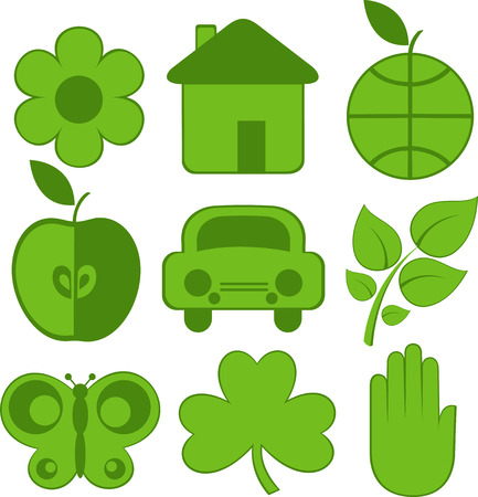 Set of nine ecology icons, flower, house, earth, apple, car, plant, butterfly, clover, hand. Vector Stock Vector - 4493332
