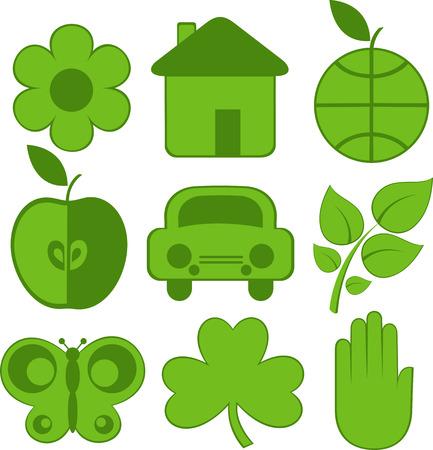 Set of nine ecology icons, flower, house, earth, apple, car, plant, butterfly, clover, hand. Vector Stock Vector - 4493332