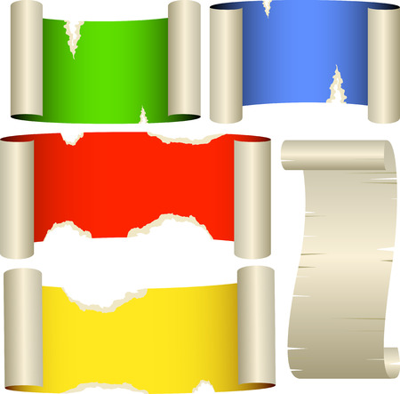 roztrhaný: Five color banners. Ragged paper rolls.Vector. Isolated on white